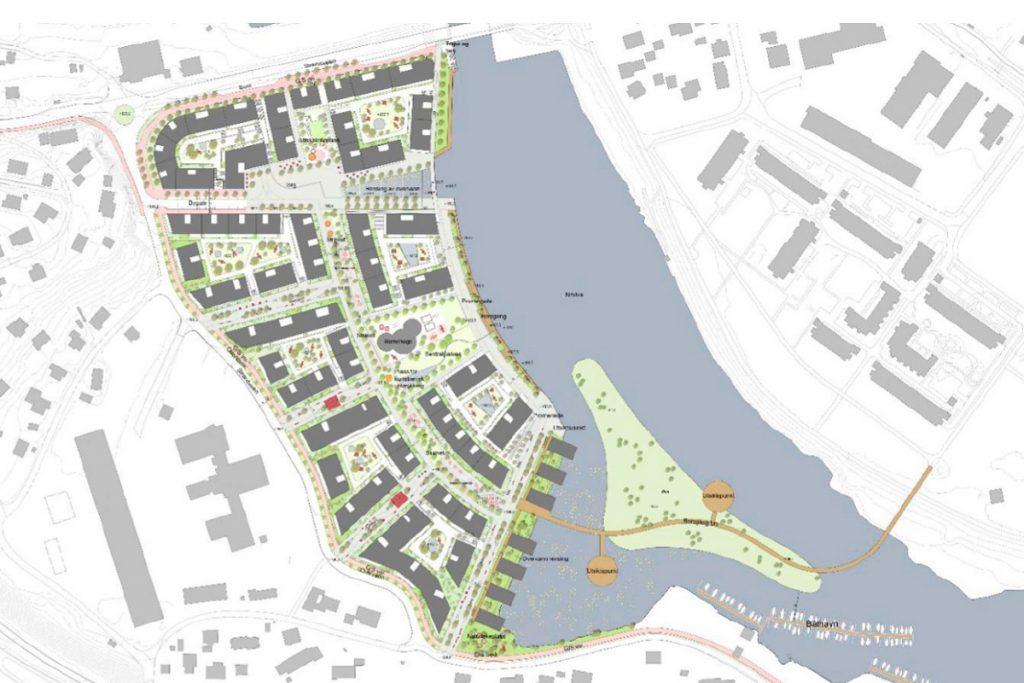 Strandveien, Strømmen. Illustrasjon: Lillestrøm kommune.