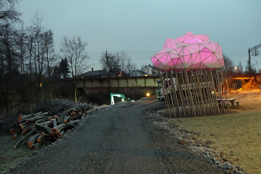 Strømmen sidebane, Sagelvas Venner. Historisk museumsbane. Anleggsarbeid ved Sagstien/Sagelva. Foto: Vårt Strømmen, vartstrommen.no.