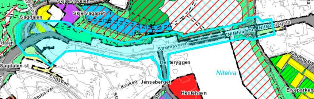 Kartutsnitt fra reguleringsplanbasen, datert 18/11-2020. Kilde: Saksframlegg Lillestrøm kommune.