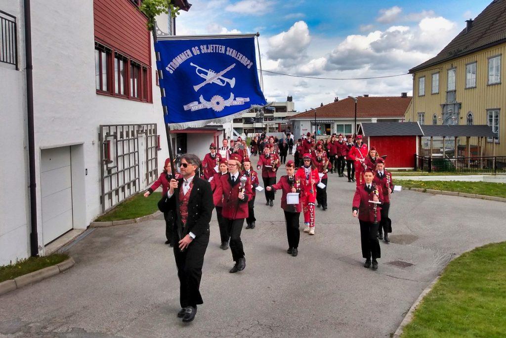 Strømmen og Skjetten skolekorps, 17. mai / nasjonaldagen 2020. Foto: Vårt Strømmen, vartstrommen.no.